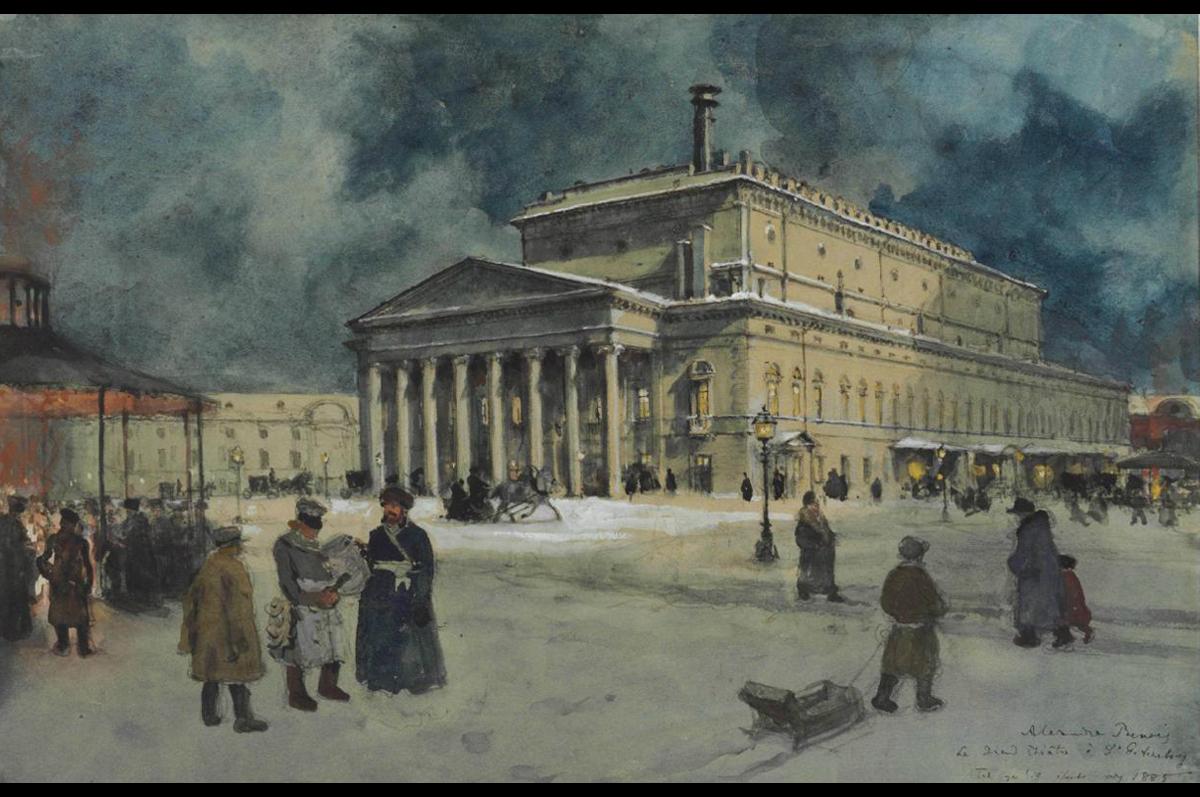 Александр Бенуа. Вид Большого Театра в 1885. Осенью 2011 ушла с молотка на Кристис за £133,250