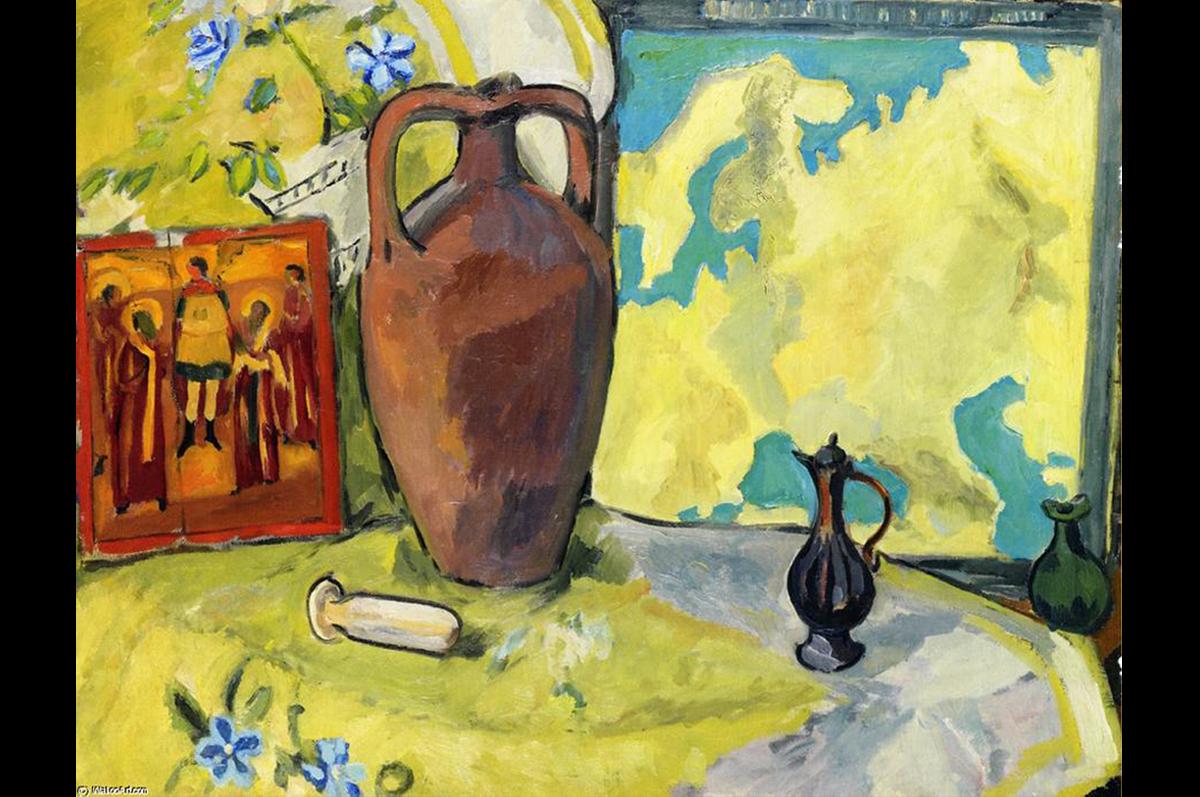 Натюрморт с кувшином и иконой. Михаил Ларионов, 1910-1912