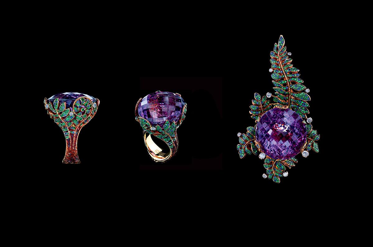 Кулон и кольцо / желтое золото, аметист, бриллианты, сапфиры, цавориты / коллекция Fairy Tales, Jewellery Theatre