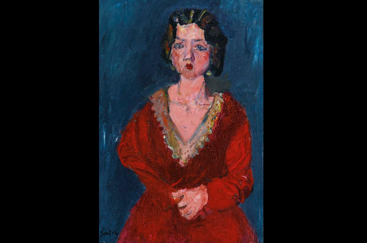 Хаим Сутин. «Женщина в красном на синем фоне», ок. 1928