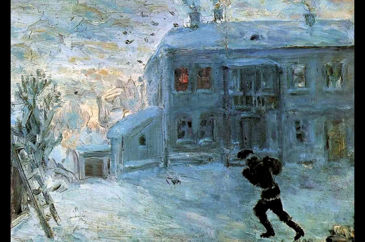 Михаил Ларионов. Пейзаж под снегом. Частная коллекция