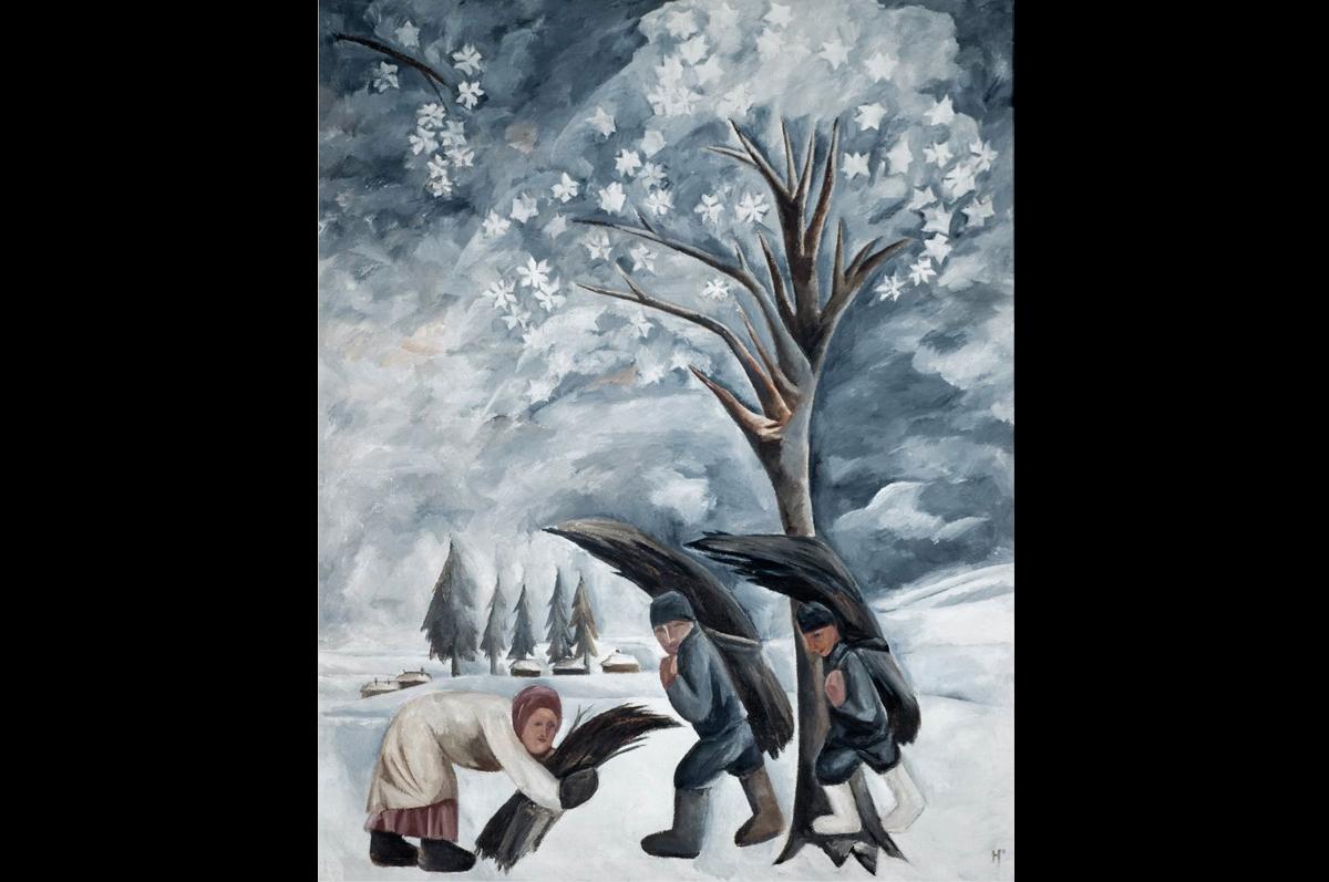 Наталия Гончарова. Зима. Сбор хвороста, 1911. Третьяковская галерея, Москва