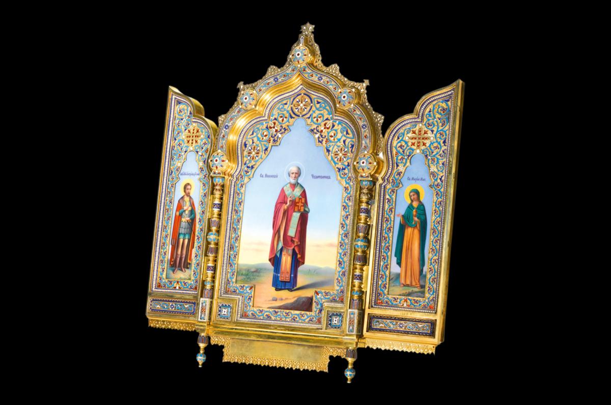 Образ Святого Николая Чудотворца в окружении Святых Александра Невского и Марии Магдалины