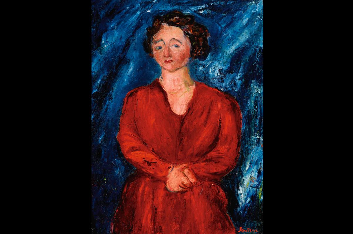 Хаим Сутин. Женщина в красном платье на синем фоне, ок. 1928