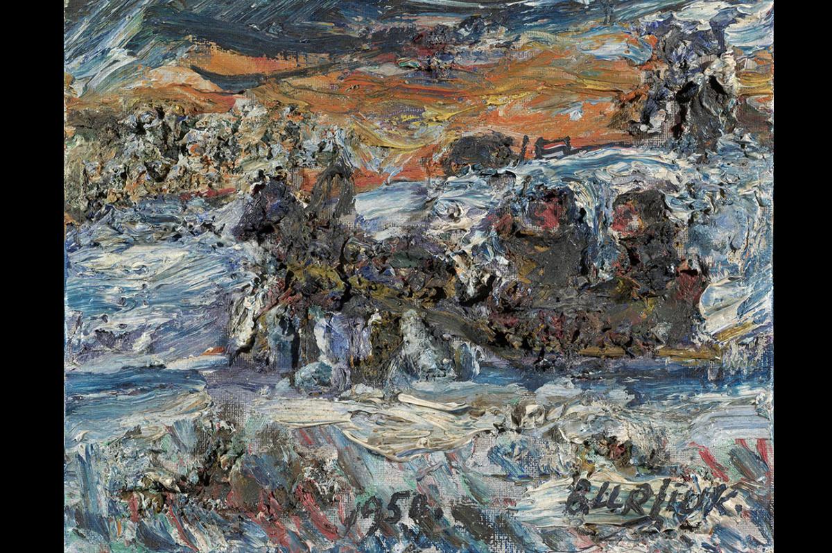 Давид Бурлюк. Лошадь, тянущая сани, 1959